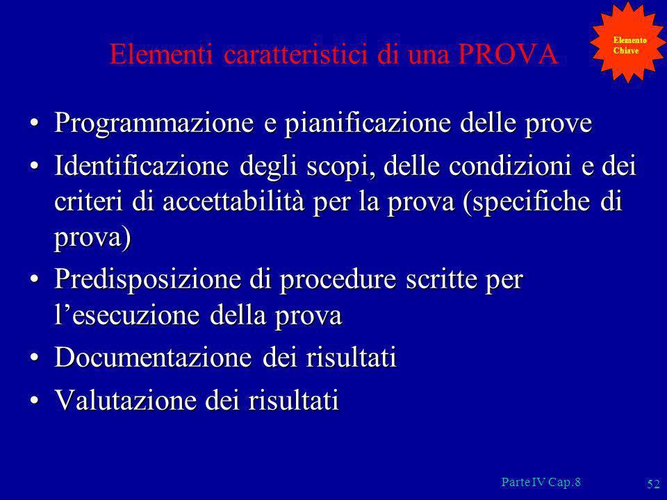 Parte IV Cap.8 52 Elementi caratteristici di una PROVA Programmazione e pianificazione delle proveProgrammazione e pianificazione delle prove Identifi