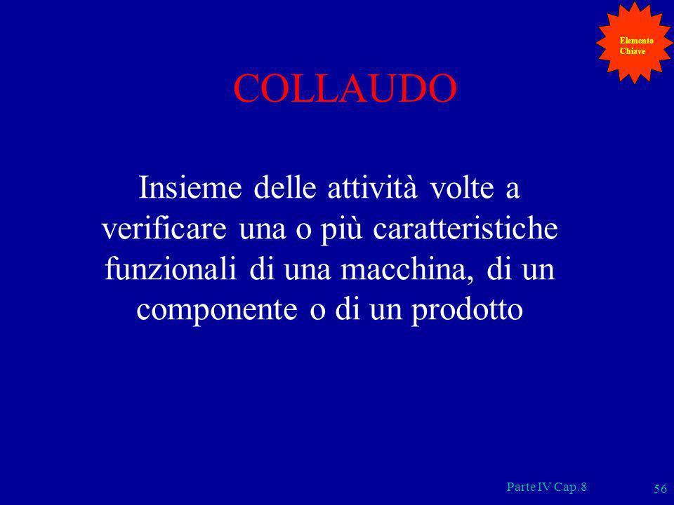 Parte IV Cap.8 56 COLLAUDO Insieme delle attività volte a verificare una o più caratteristiche funzionali di una macchina, di un componente o di un pr