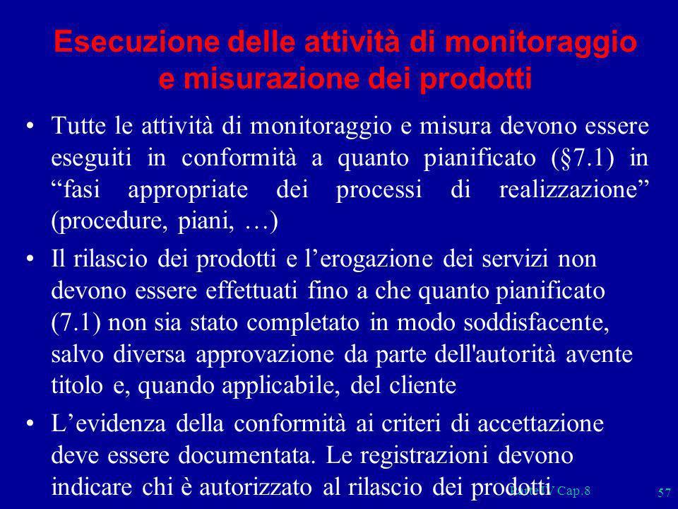 Parte IV Cap.8 57 Esecuzione delle attività di monitoraggio e misurazione dei prodotti Tutte le attività di monitoraggio e misura devono essere esegui
