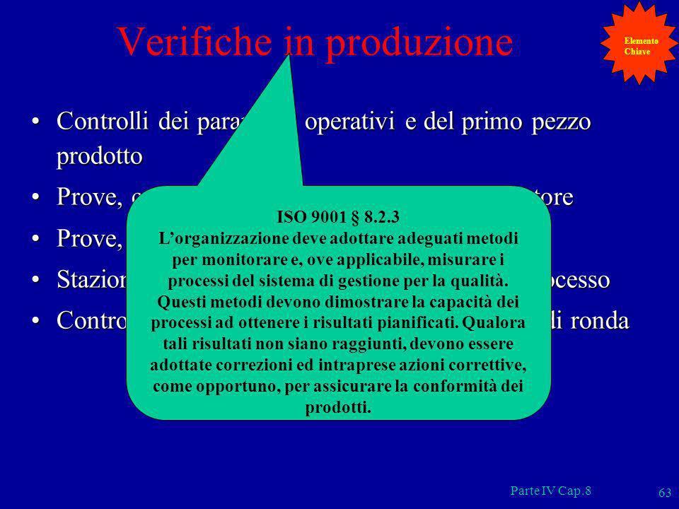 Parte IV Cap.8 63 Verifiche in produzione Controlli dei parametri operativi e del primo pezzo prodottoControlli dei parametri operativi e del primo pe