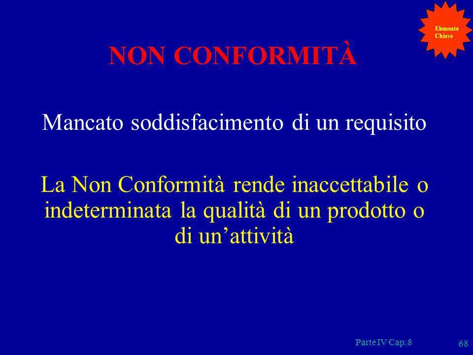 Parte IV Cap.8 68 NON CONFORMITÀ Mancato soddisfacimento di un requisito La Non Conformità rende inaccettabile o indeterminata la qualità di un prodot