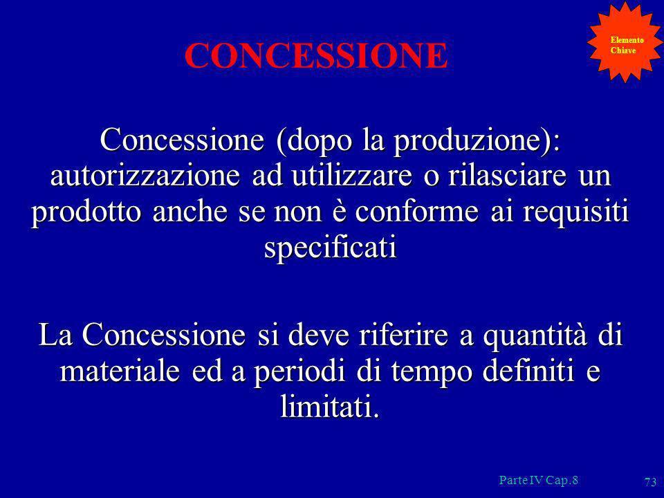 Parte IV Cap.8 73 CONCESSIONE Concessione (dopo la produzione): autorizzazione ad utilizzare o rilasciare un prodotto anche se non è conforme ai requi