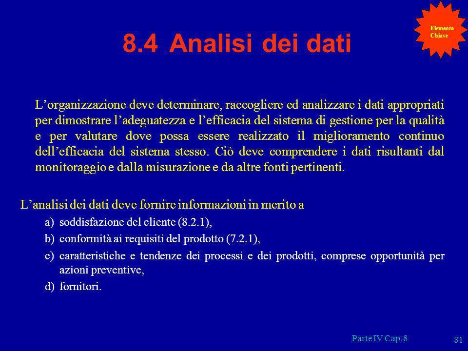 Parte IV Cap.8 81 8.4 Analisi dei dati Lorganizzazione deve determinare, raccogliere ed analizzare i dati appropriati per dimostrare ladeguatezza e le