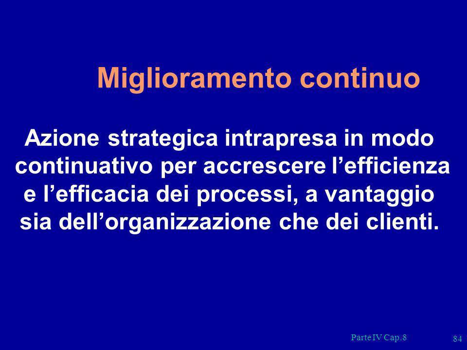 Parte IV Cap.8 84 Miglioramento continuo Azione strategica intrapresa in modo continuativo per accrescere lefficienza e lefficacia dei processi, a van