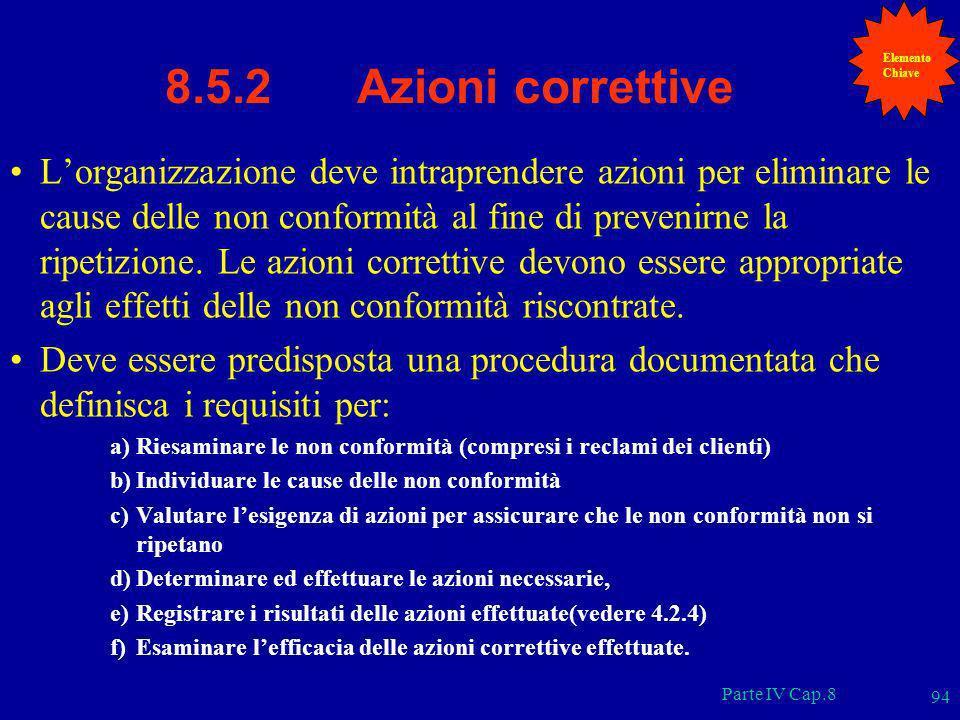 Parte IV Cap.8 94 8.5.2 Azioni correttive Lorganizzazione deve intraprendere azioni per eliminare le cause delle non conformità al fine di prevenirne