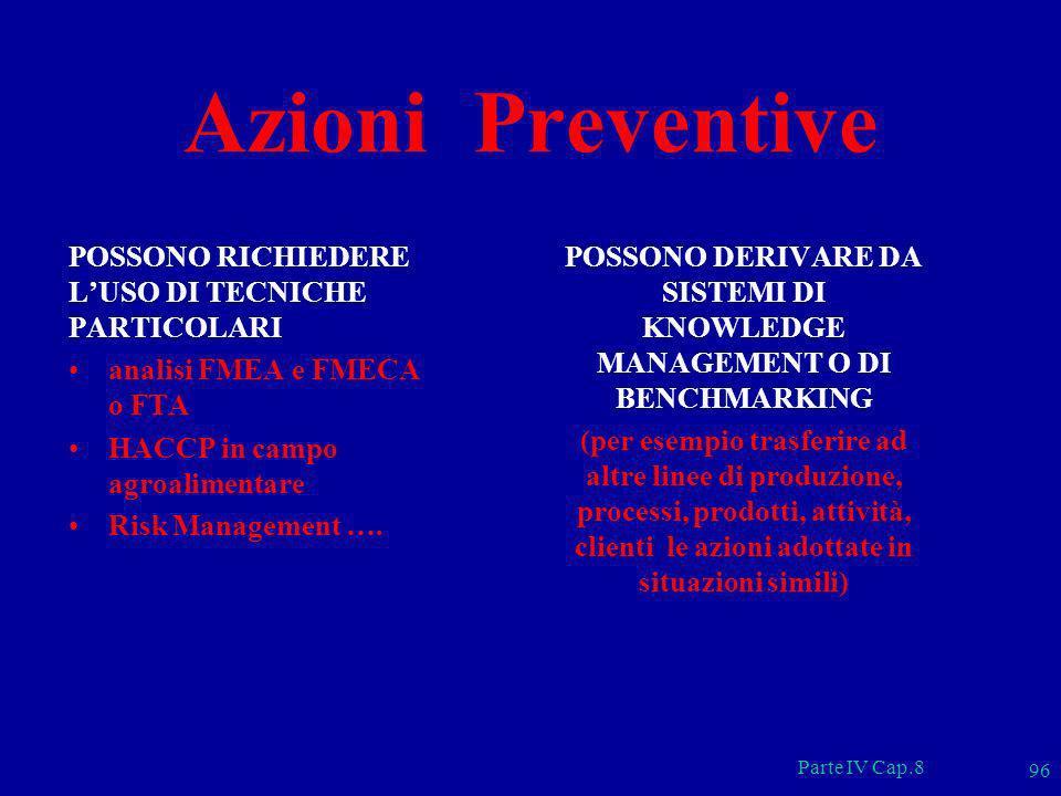 Parte IV Cap.8 96 Azioni Preventive POSSONO RICHIEDERE LUSO DI TECNICHE PARTICOLARI analisi FMEA e FMECA o FTA HACCP in campo agroalimentare Risk Mana