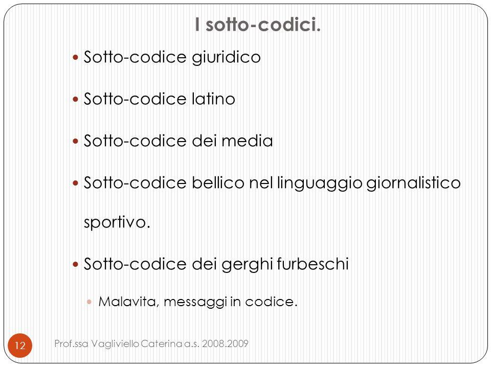 I sotto-codici. Sotto-codice giuridico Sotto-codice latino Sotto-codice dei media Sotto-codice bellico nel linguaggio giornalistico sportivo. Sotto-co