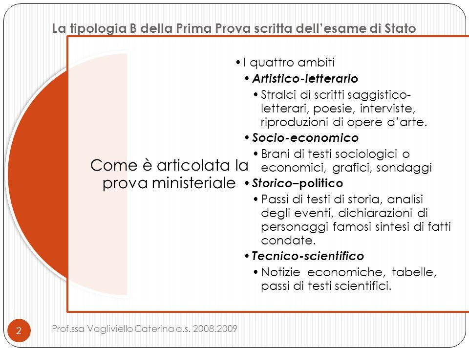 La tipologia B della Prima Prova scritta dellesame di Stato Come è articolata la prova ministeriale I quattro ambiti Artistico-letterario Stralci di s