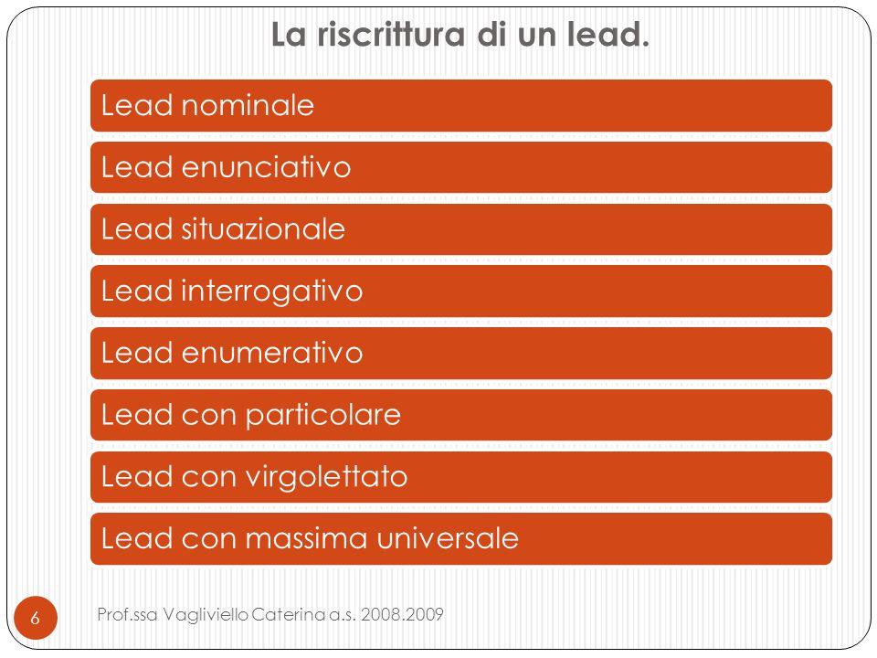 La riscrittura di un lead. Lead nominaleLead enunciativoLead situazionaleLead interrogativoLead enumerativoLead con particolareLead con virgolettatoLe
