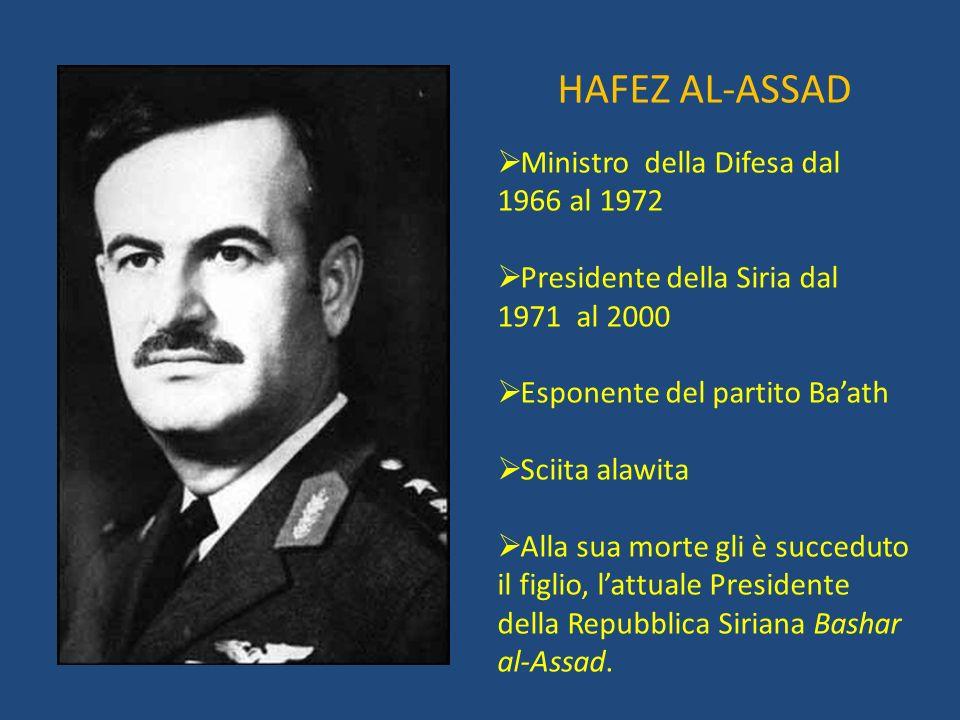 HAFEZ AL-ASSAD Ministro della Difesa dal 1966 al 1972 Presidente della Siria dal 1971 al 2000 Esponente del partito Baath Sciita alawita Alla sua mort