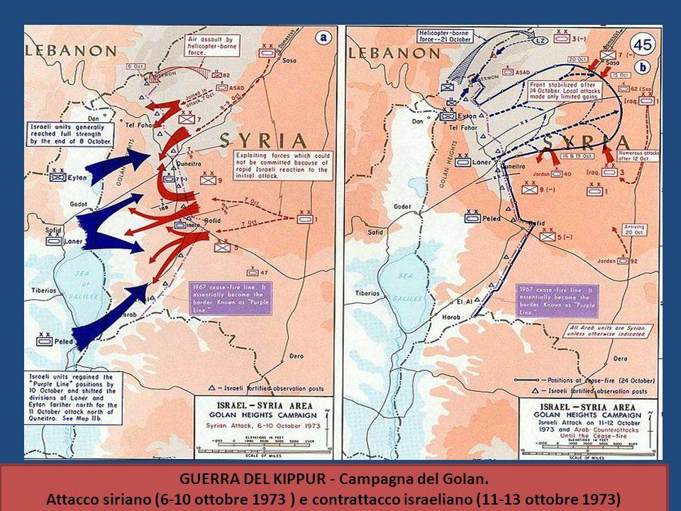 GUERRA DEL KIPPUR - Campagna del Golan. Attacco siriano (6-10 ottobre 1973 ) e contrattacco israeliano (11-13 ottobre 1973)