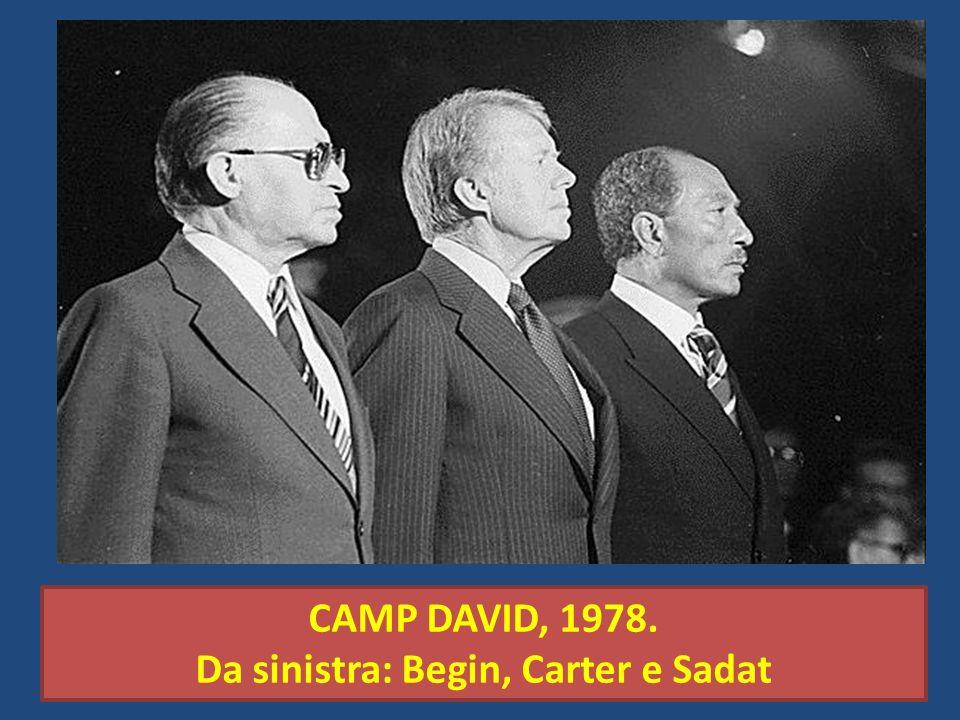 CAMP DAVID, 1978. Da sinistra: Begin, Carter e Sadat