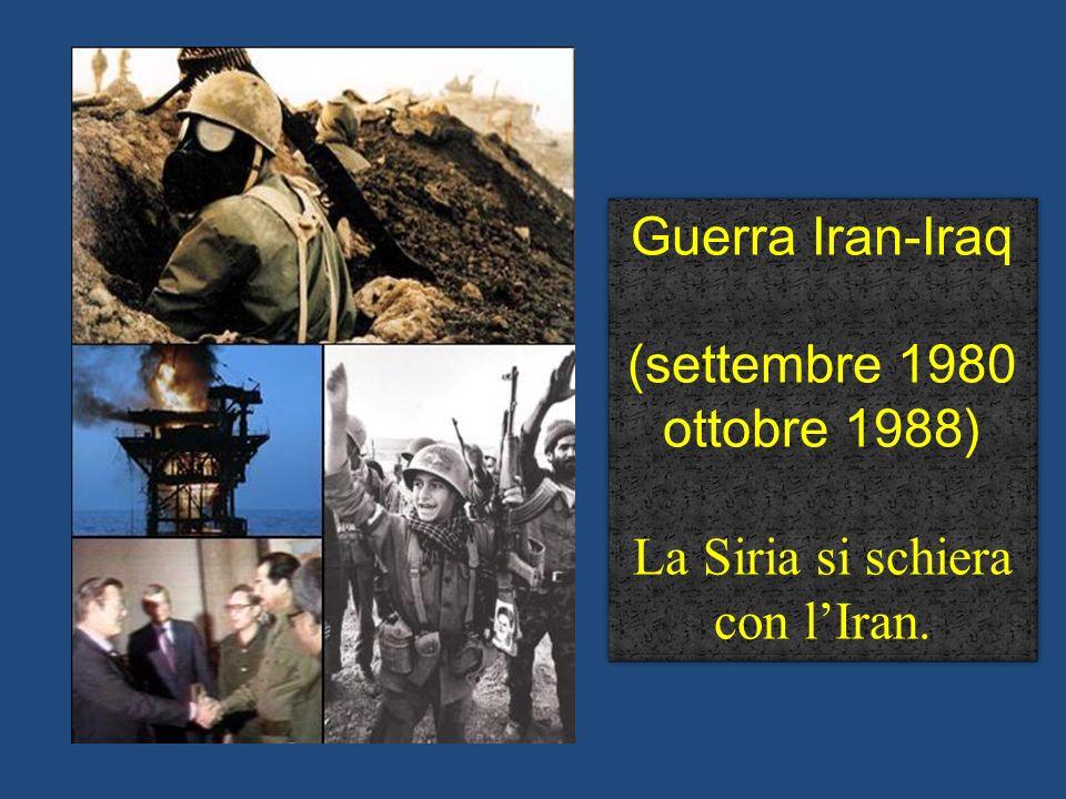 Guerra Iran-Iraq (settembre 1980 ottobre 1988) La Siria si schiera con lIran. Guerra Iran-Iraq (settembre 1980 ottobre 1988) La Siria si schiera con l