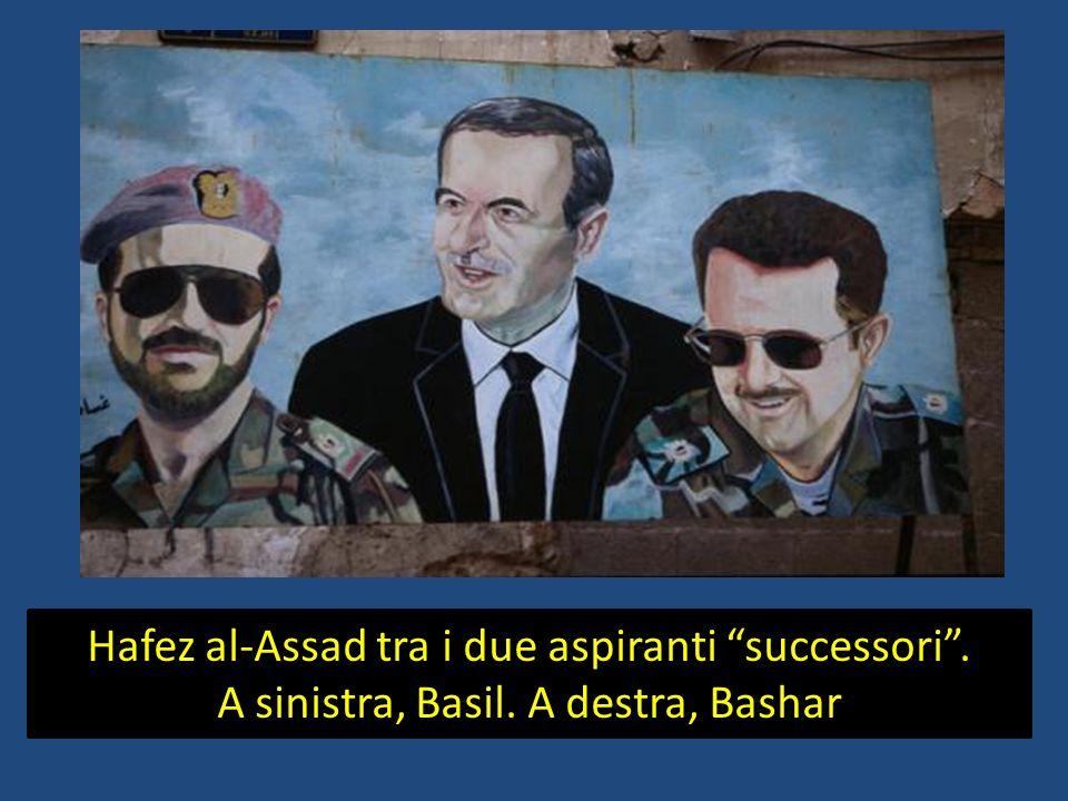 Hafez al-Assad tra i due aspiranti successori. A sinistra, Basil. A destra, Bashar