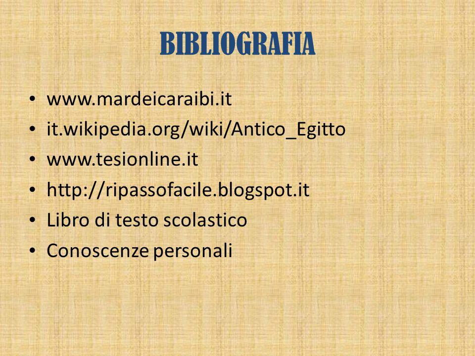 BIBLIOGRAFIA www.mardeicaraibi.it it.wikipedia.org/wiki/Antico_Egitto www.tesionline.it http://ripassofacile.blogspot.it Libro di testo scolastico Con