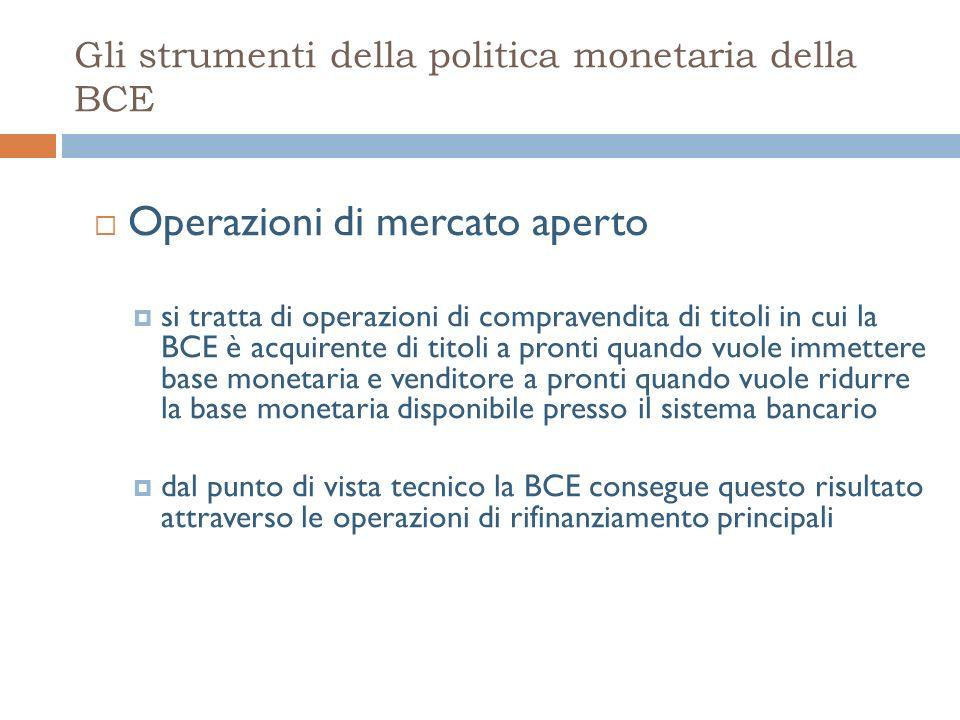 Gli strumenti della politica monetaria della BCE Operazioni di mercato aperto si tratta di operazioni di compravendita di titoli in cui la BCE è acquirente di titoli a pronti quando vuole immettere base monetaria e venditore a pronti quando vuole ridurre la base monetaria disponibile presso il sistema bancario dal punto di vista tecnico la BCE consegue questo risultato attraverso le operazioni di rifinanziamento principali