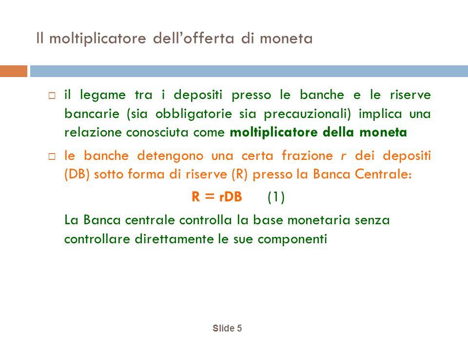 Slide 5 Il moltiplicatore dellofferta di moneta il legame tra i depositi presso le banche e le riserve bancarie (sia obbligatorie sia precauzionali) implica una relazione conosciuta come moltiplicatore della moneta le banche detengono una certa frazione r dei depositi (DB) sotto forma di riserve (R) presso la Banca Centrale: R = rDB (1) La Banca centrale controlla la base monetaria senza controllare direttamente le sue componenti