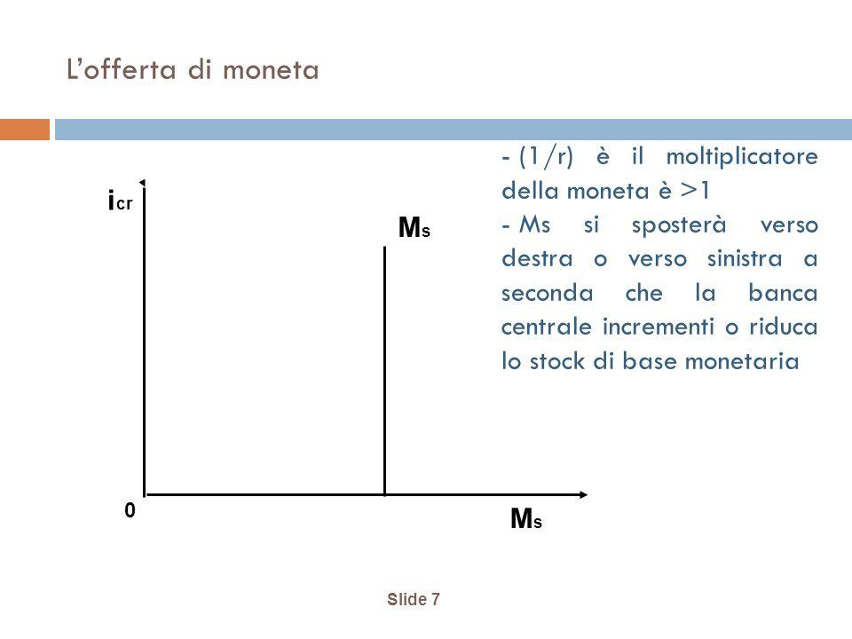 Slide 7 Lofferta di moneta MsMs MsMs i cr 0 - (1/r) è il moltiplicatore della moneta è >1 - Ms si sposterà verso destra o verso sinistra a seconda che la banca centrale incrementi o riduca lo stock di base monetaria
