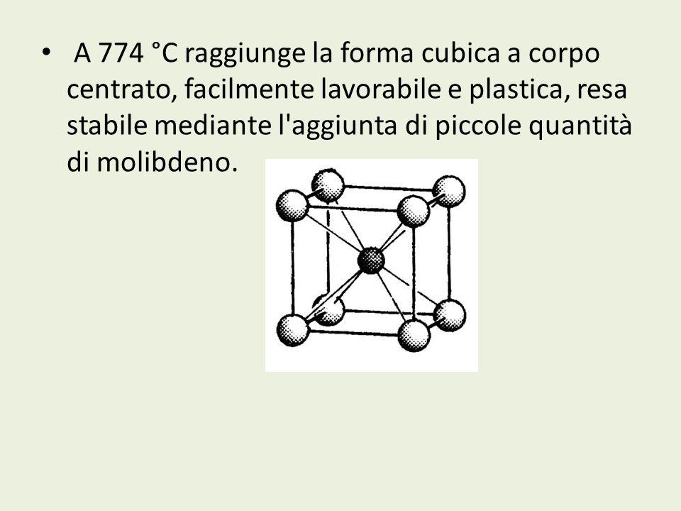 A 774 °C raggiunge la forma cubica a corpo centrato, facilmente lavorabile e plastica, resa stabile mediante l'aggiunta di piccole quantità di molibde