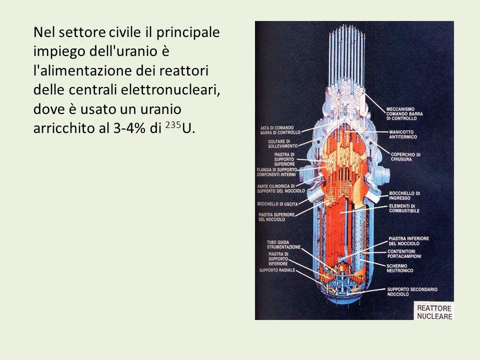 Nel settore civile il principale impiego dell'uranio è l'alimentazione dei reattori delle centrali elettronucleari, dove è usato un uranio arricchito