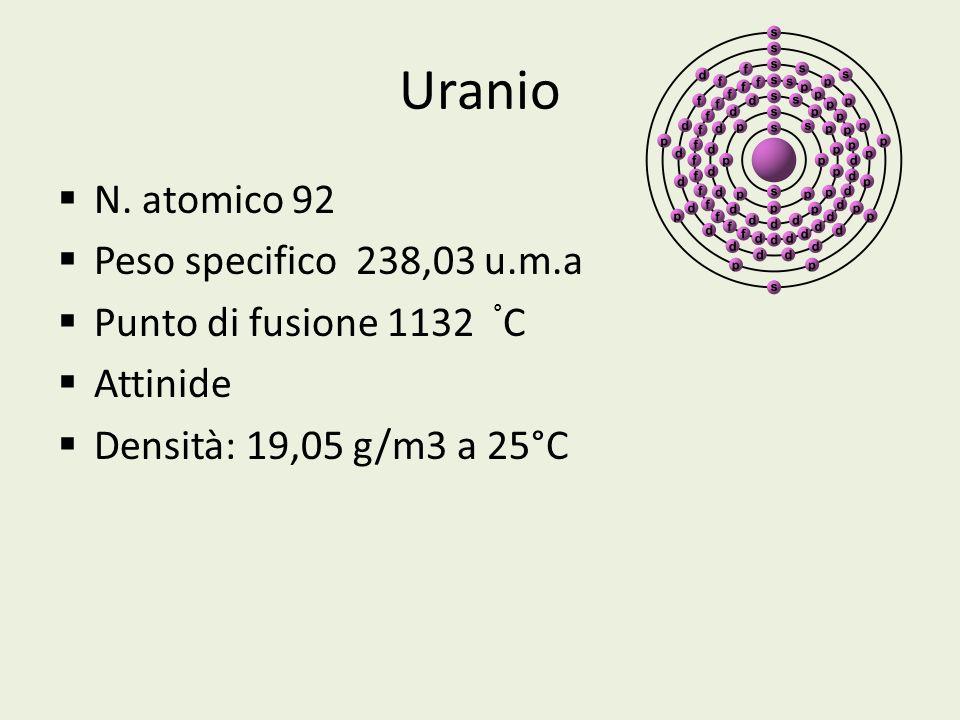 Uranio N. atomico 92 Peso specifico 238,03 u.m.a Punto di fusione 1132 ° C Attinide Densità: 19,05 g/m3 a 25°C