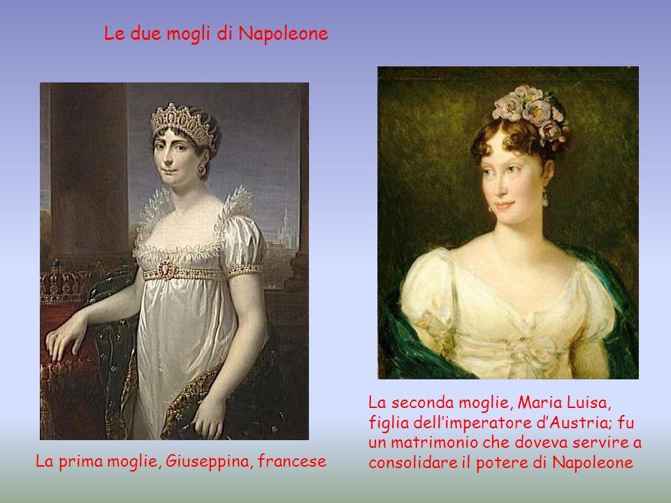 La prima moglie, Giuseppina, francese La seconda moglie, Maria Luisa, figlia dellimperatore dAustria; fu un matrimonio che doveva servire a consolidar