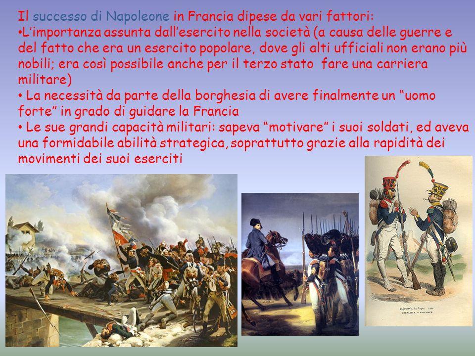 Il successo di Napoleone in Francia dipese da vari fattori: Limportanza assunta dallesercito nella società (a causa delle guerre e del fatto che era u