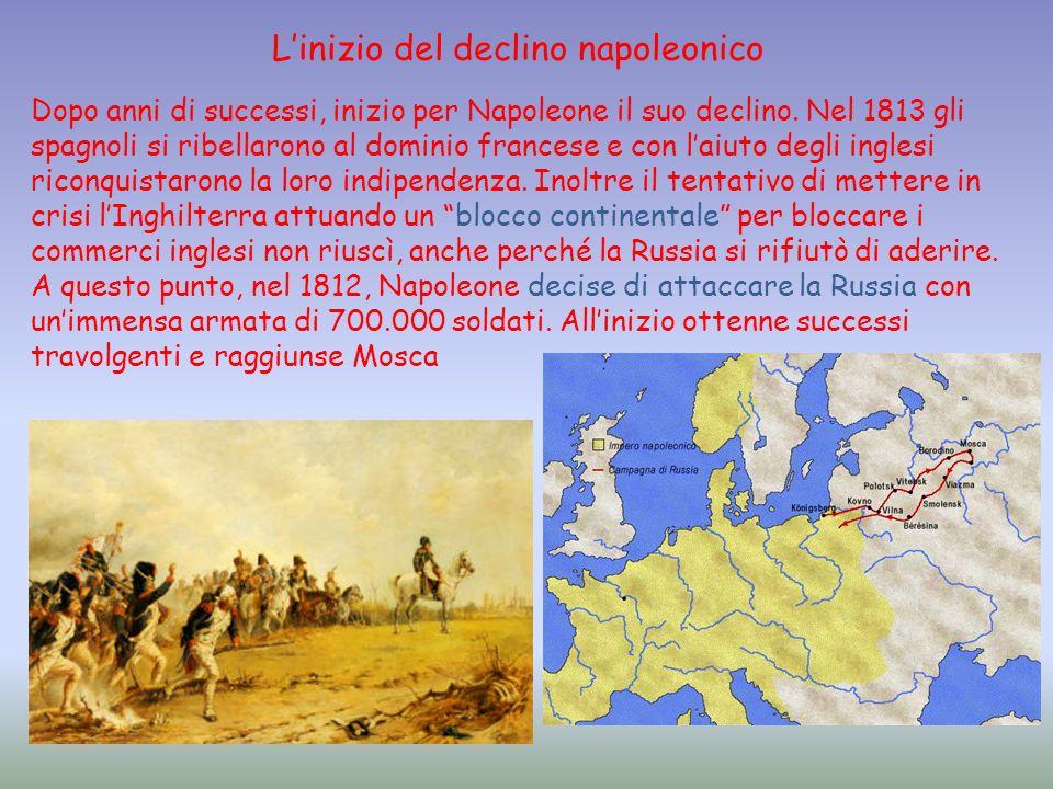 Dopo anni di successi, inizio per Napoleone il suo declino. Nel 1813 gli spagnoli si ribellarono al dominio francese e con laiuto degli inglesi riconq