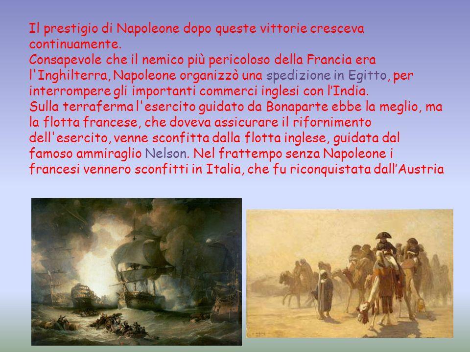 Il prestigio di Napoleone dopo queste vittorie cresceva continuamente. Consapevole che il nemico più pericoloso della Francia era l'Inghilterra, Napol