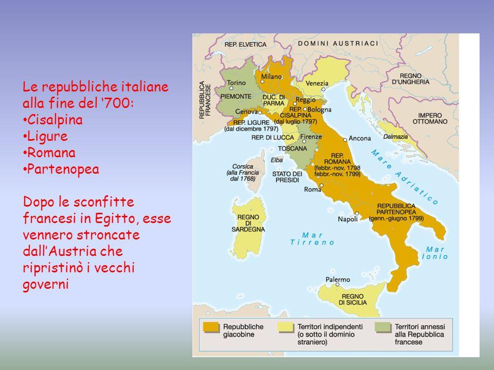 Le repubbliche italiane alla fine del 700: Cisalpina Ligure Romana Partenopea Dopo le sconfitte francesi in Egitto, esse vennero stroncate dallAustria