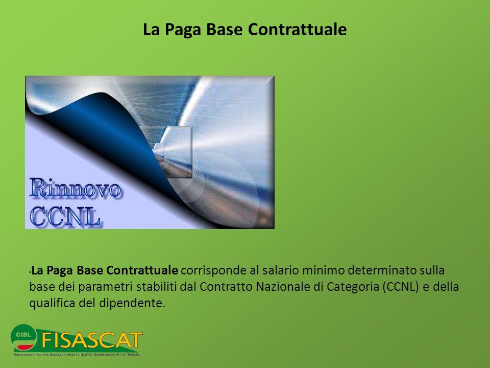 La Paga Base Contrattuale La Paga Base Contrattuale corrisponde al salario minimo determinato sulla base dei parametri stabiliti dal Contratto Naziona