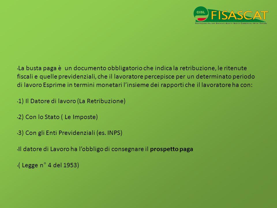 A COSA SERVE A determinare la retribuzione che spetta al lavoratore per il periodo di lavoro svolto.