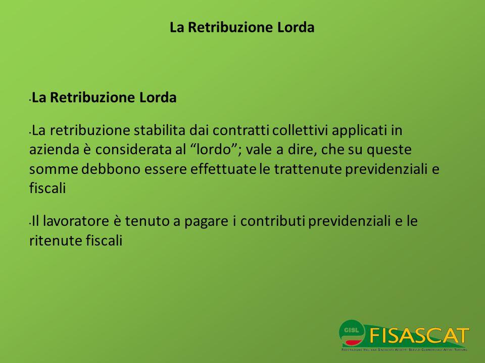 La Retribuzione Lorda La retribuzione stabilita dai contratti collettivi applicati in azienda è considerata al lordo; vale a dire, che su queste somme