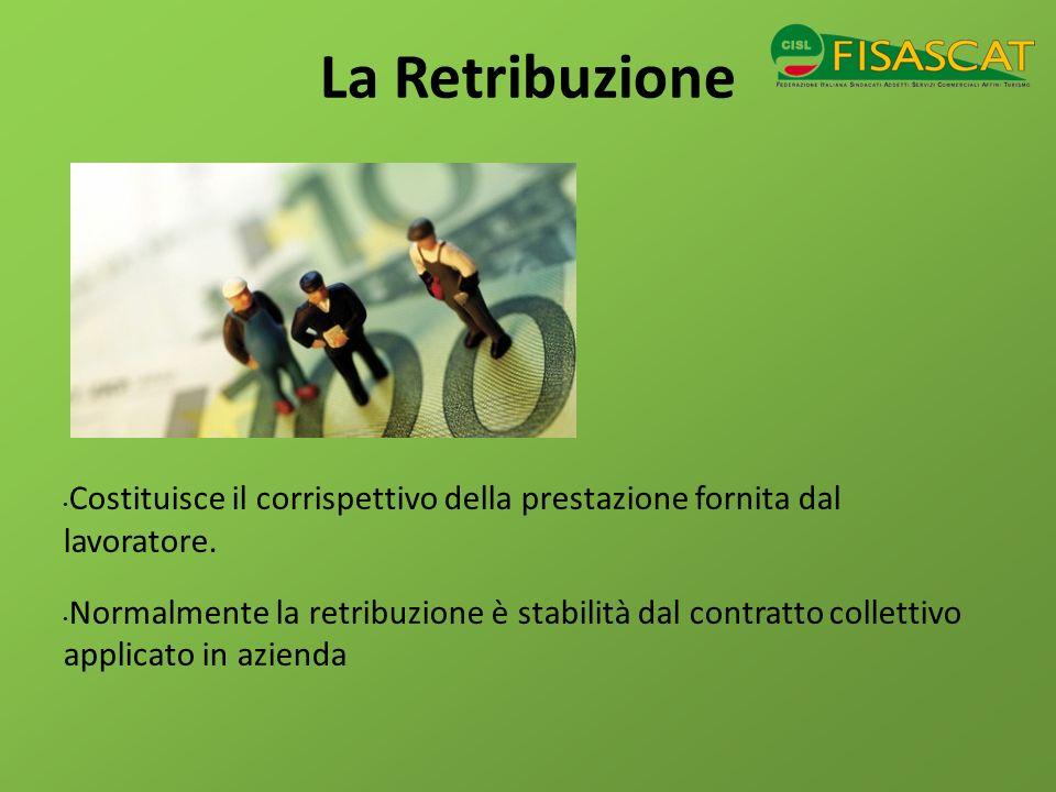 La Retribuzione Costituisce il corrispettivo della prestazione fornita dal lavoratore. Normalmente la retribuzione è stabilità dal contratto collettiv
