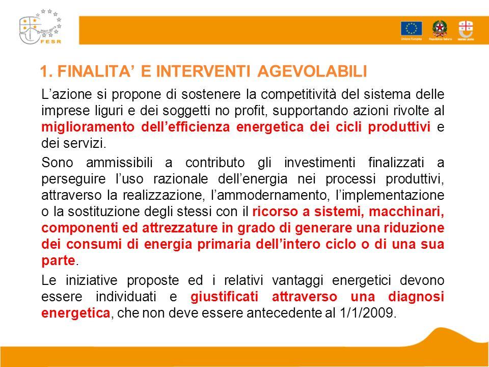 1. FINALITA E INTERVENTI AGEVOLABILI Lazione si propone di sostenere la competitività del sistema delle imprese liguri e dei soggetti no profit, suppo