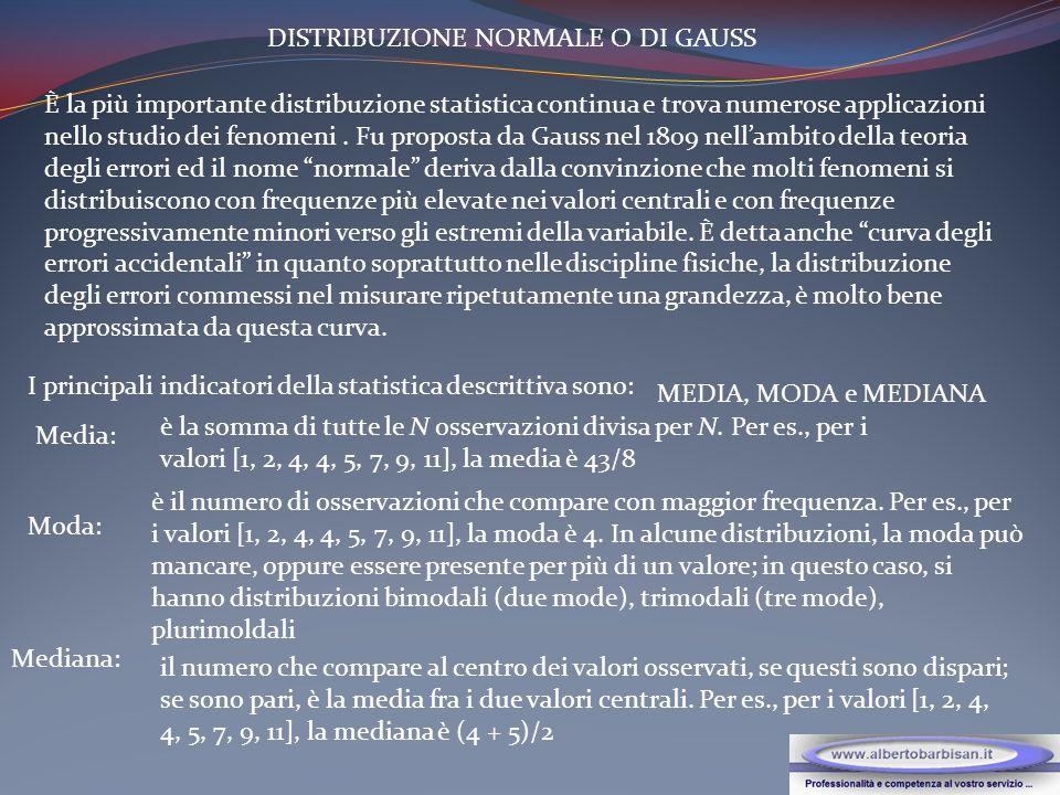 DISTRIBUZIONE NORMALE O DI GAUSS È la più importante distribuzione statistica continua e trova numerose applicazioni nello studio dei fenomeni.