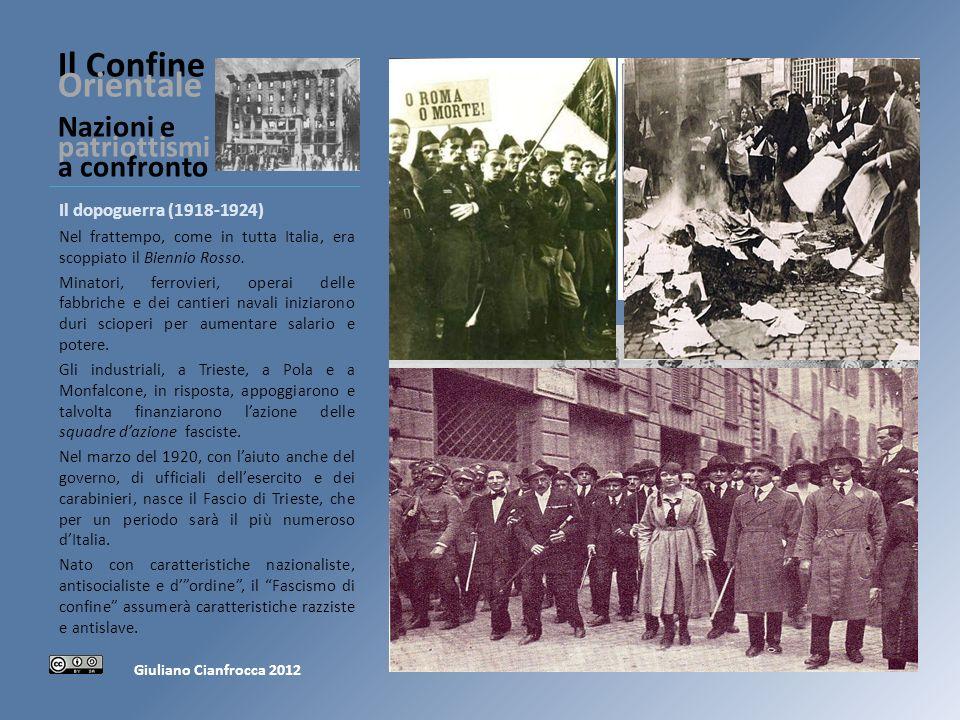 Il Confine Orientale Nazioni e patriottismi a confronto Il dopoguerra (1918-1924) Nel frattempo, come in tutta Italia, era scoppiato il Biennio Rosso.