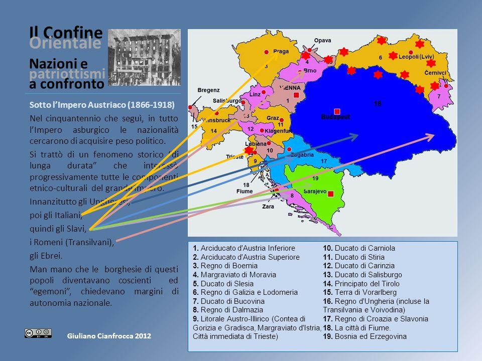 Il Confine Orientale Nazioni e patriottismi a confronto Sotto lImpero Austriaco (1866-1918) Nel cinquantennio che seguì, in tutto lImpero asburgico le nazionalità cercarono di acquisire peso politico.