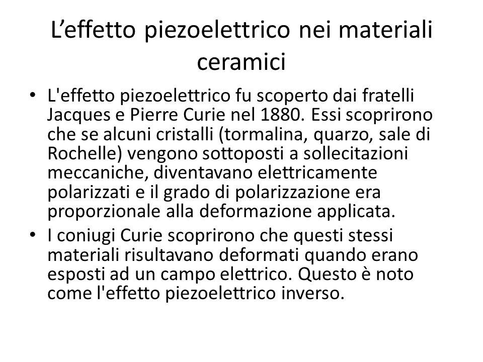Leffetto piezoelettrico nei materiali ceramici (2) Affinchè leffetto piezoelettrico sia evidente in un cristallo la sua struttura dovrebbe avere un centro di simmetria.