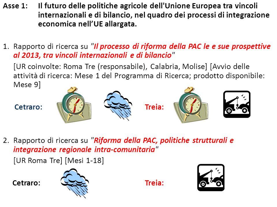 Asse 1: Il futuro delle politiche agricole dell Unione Europea tra vincoli internazionali e di bilancio, nel quadro dei processi di integrazione economica nellUE allargata.