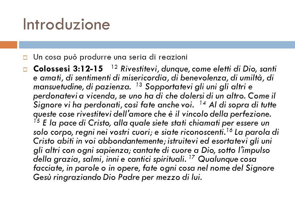 Introduzione Un cosa può produrre una seria di reazioni Colossesi 3:12-15 12 Rivestitevi, dunque, come eletti di Dio, santi e amati, di sentimenti di