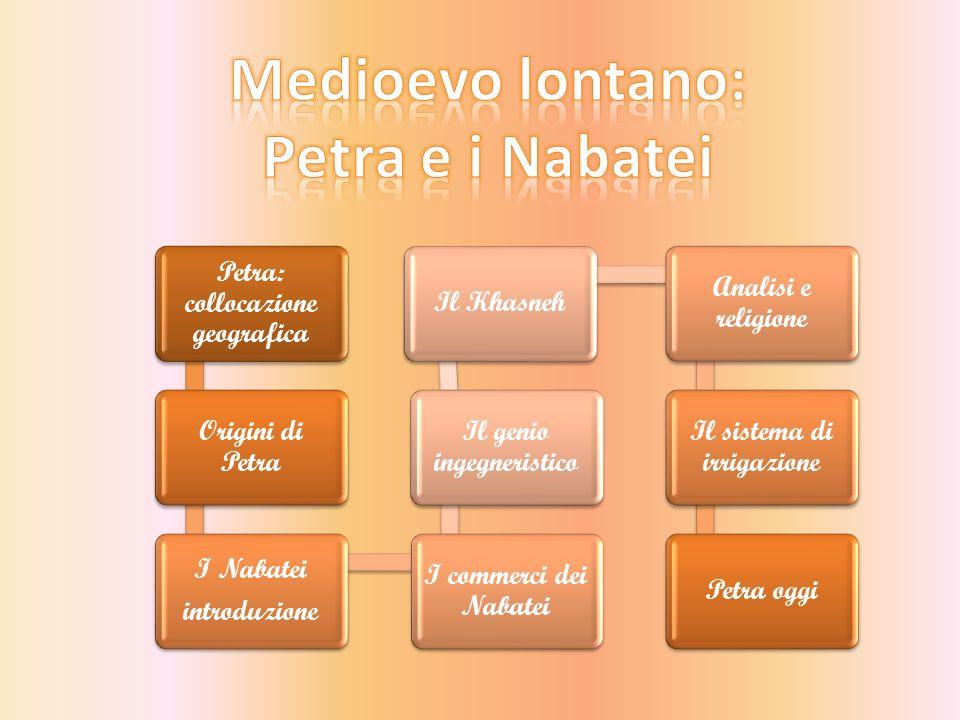 Petra: collocazione geografica Origini di Petra I Nabatei introduzione I commerci dei Nabatei Il genio ingegneristico Il Khasneh Analisi e religione Il sistema di irrigazione Petra oggi