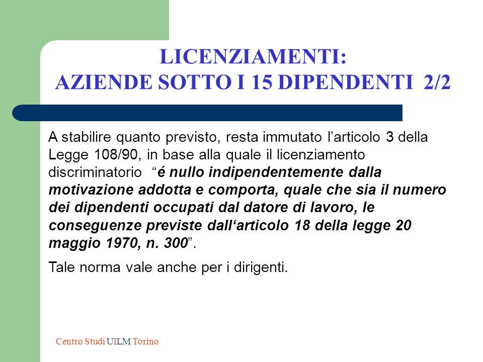 A stabilire quanto previsto, resta immutato larticolo 3 della Legge 108/90, in base alla quale il licenziamento discriminatorio é nullo indipendenteme