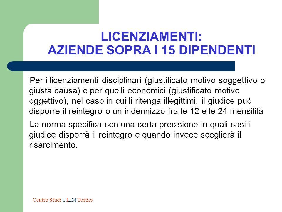 LICENZIAMENTI: AZIENDE SOPRA I 15 DIPENDENTI Per i licenziamenti disciplinari (giustificato motivo soggettivo o giusta causa) e per quelli economici (