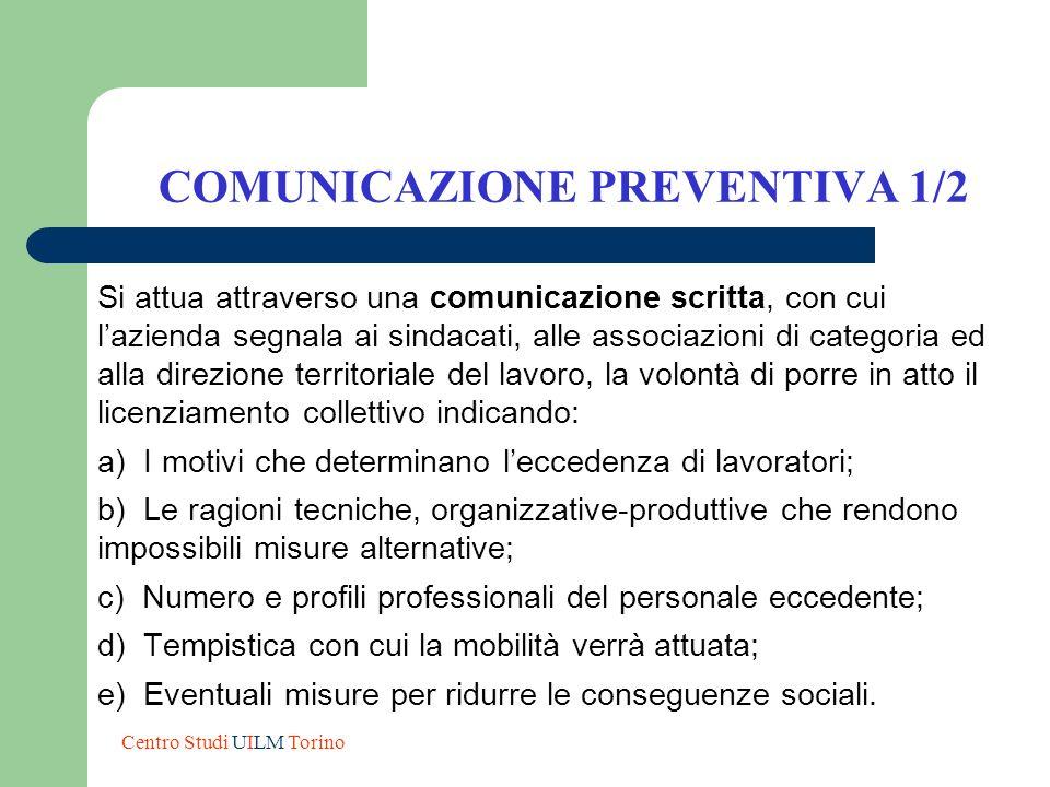 COMUNICAZIONE PREVENTIVA 1/2 Si attua attraverso una comunicazione scritta, con cui lazienda segnala ai sindacati, alle associazioni di categoria ed a