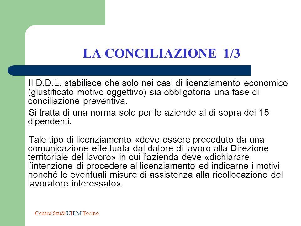 LA CONCILIAZIONE 1/3 Il D.D.L. stabilisce che solo nei casi di licenziamento economico (giustificato motivo oggettivo) sia obbligatoria una fase di co