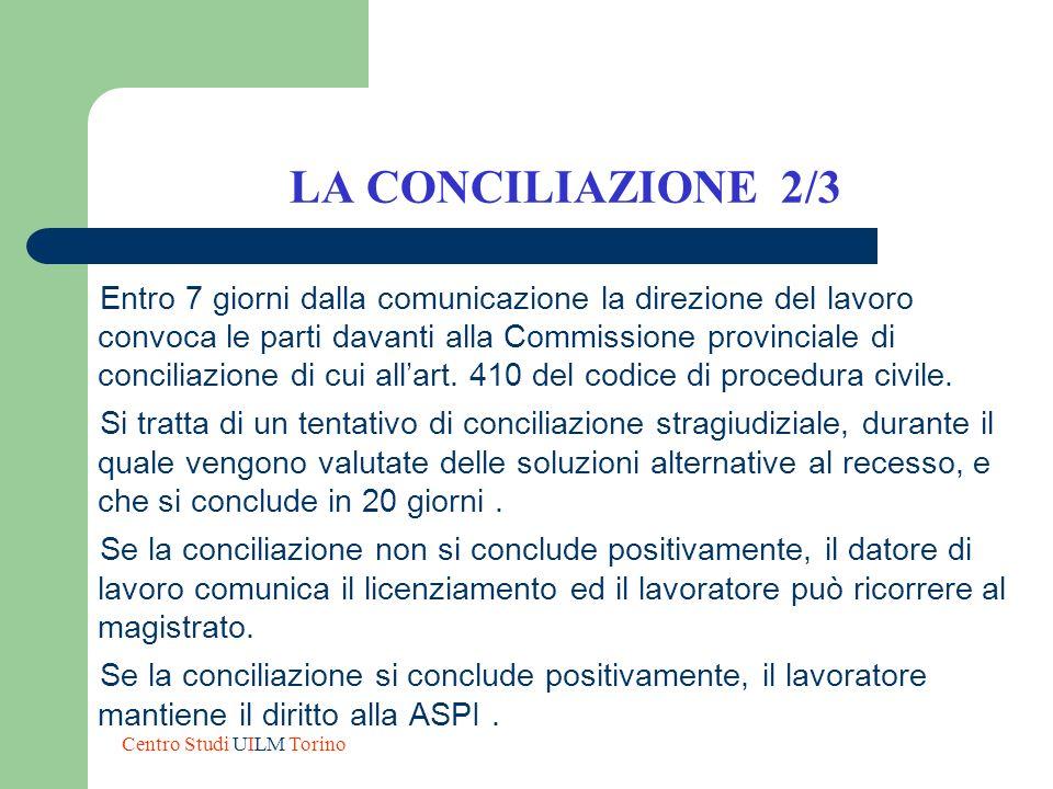 LA CONCILIAZIONE 2/3 Entro 7 giorni dalla comunicazione la direzione del lavoro convoca le parti davanti alla Commissione provinciale di conciliazione
