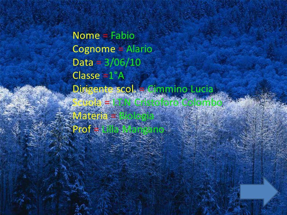 Nome = Fabio Cognome = Alario Data = 3/06/10 Classe =1°A Dirigente scol. = Cimmino Lucia Scuola = I.T.N Cristoforo Colombo Materia = Biologia Prof = L