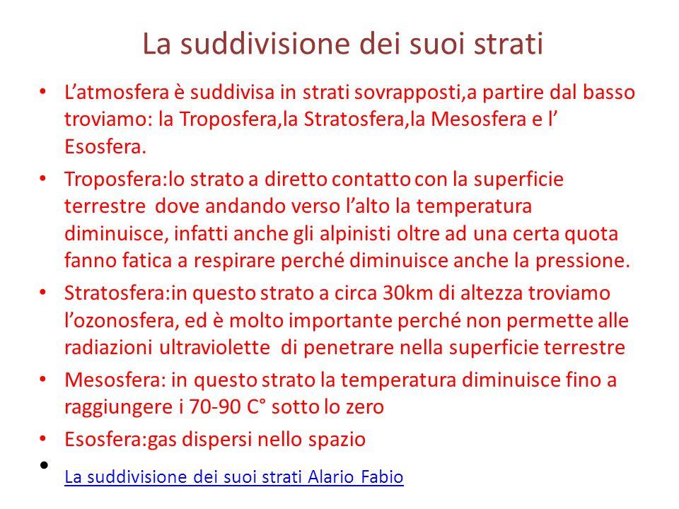 La suddivisione dei suoi strati Latmosfera è suddivisa in strati sovrapposti,a partire dal basso troviamo: la Troposfera,la Stratosfera,la Mesosfera e