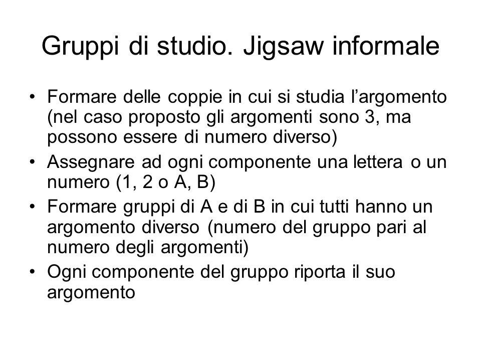 Gruppi di studio. Jigsaw informale Formare delle coppie in cui si studia largomento (nel caso proposto gli argomenti sono 3, ma possono essere di nume
